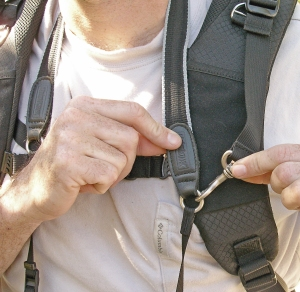 Camera Support Strap connects to Camera Strap